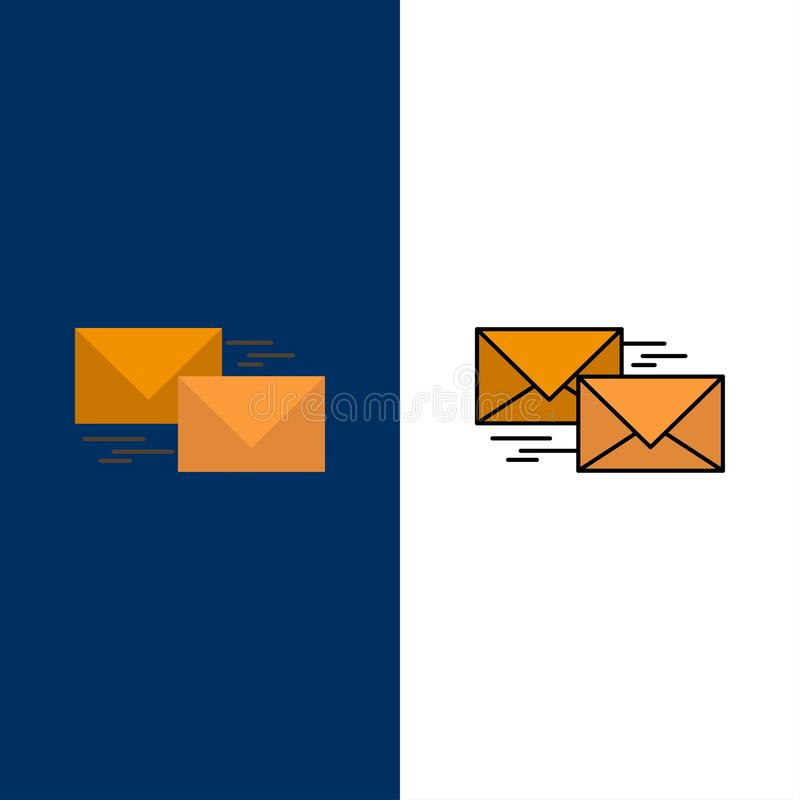Mail, Reply, Forward, Business, Correspondence, Letter  Icons. Flat and Line Filled Icon Set Vector Blue Background stock illustration
