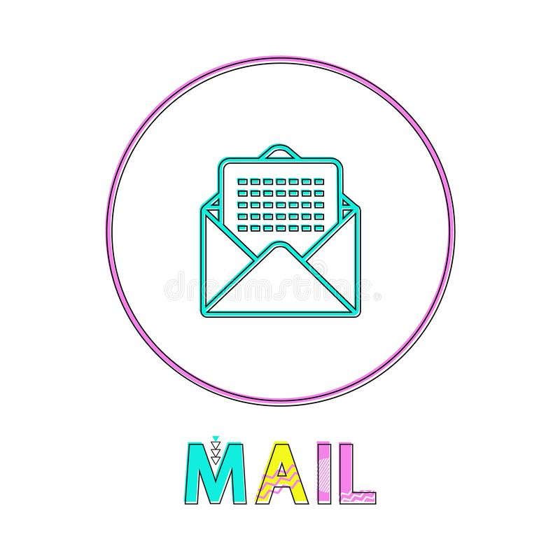 Mail Round Bright Linear Icon with Envelope Symbol vector illustration