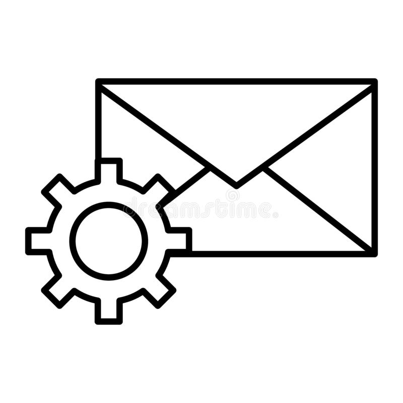 Mail settings thin line icon. Envelope and cog wheel vector illustration isolated on white. Email configuration outline stock illustration