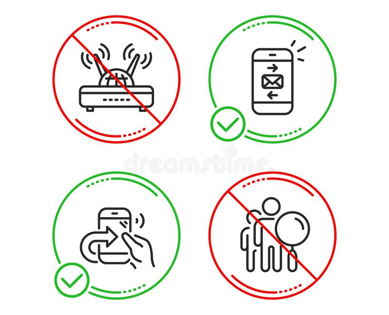 Mail, Share call and Wifi icons set. Search people sign. Vector. Do or Stop. Mail, Share call and Wifi icons simple set. Search people sign. Smartphone royalty free illustration