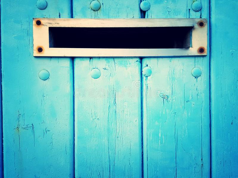 Download Mail Slot In Blue Door Stock Image. Image Of Blue, Chrome    69736605
