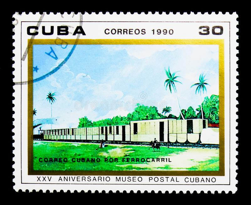 Mail Train, Cuban Postal Museum, 25th anniversary serie, circa 1. MOSCOW, RUSSIA - NOVEMBER 25, 2017: A stamp printed in Cuba shows Mail Train, Cuban Postal stock image