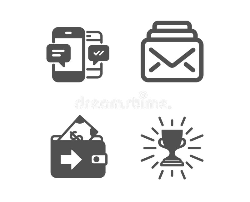 Mail, Wallet and Smartphone sms icons. Trophy sign. New messages, Money payment, Mobile messages. Winner cup. Vector vector illustration
