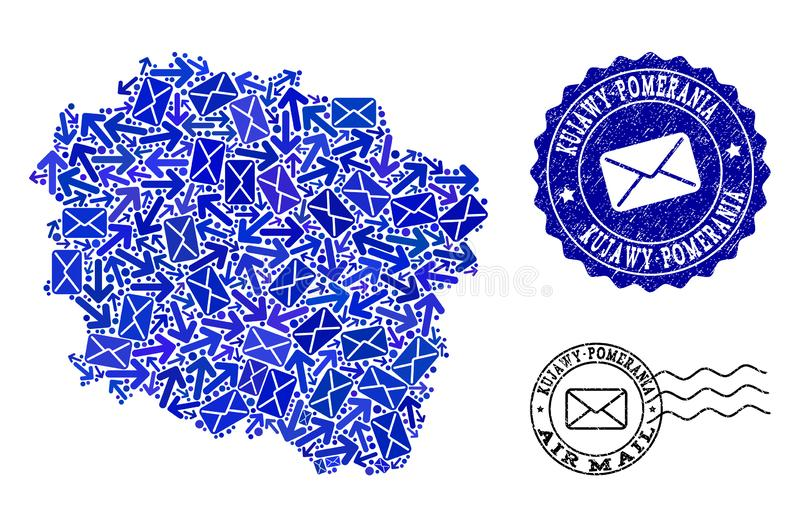 Mail Ways Composition of Mosaic Map of Kujawy-Pomerania Province and Textured Seals. Post composition of blue mosaic map of Kujawy-Pomerania Province and unclean vector illustration