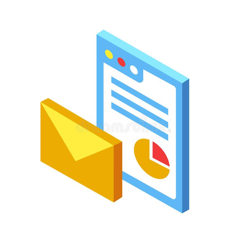 Email marketing Isometric Illustration vector illustration