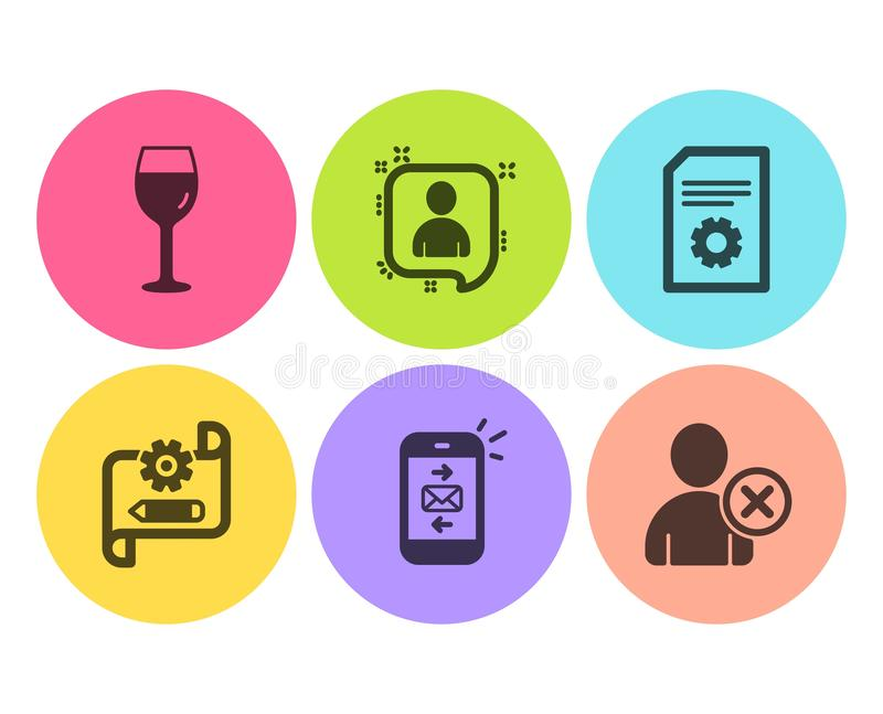 Mail, Wine glass and File settings icons set. Cogwheel blueprint, Developers chat and Delete user signs. Vector royalty free illustration