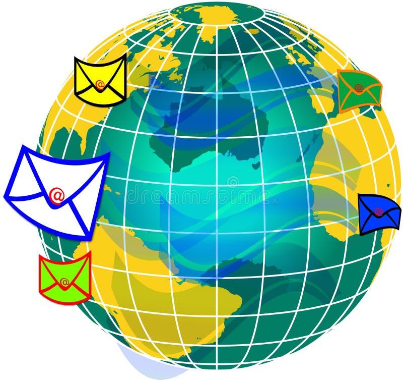 Mail and world globe2 stock illustration