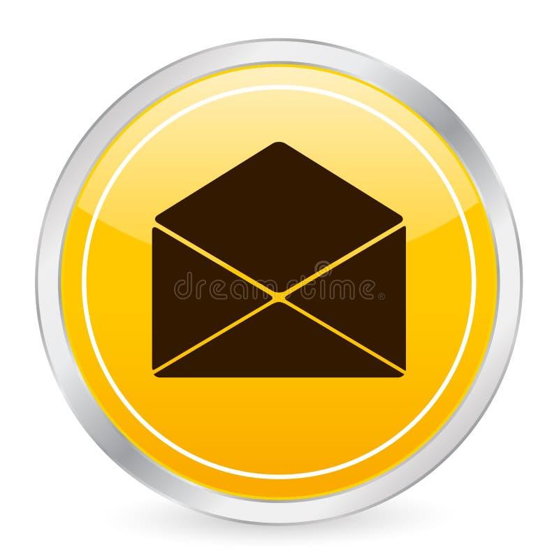 Mail yellow circle icon 2. Mail yellow circle icon. Vector illustration royalty free illustration