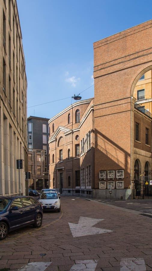 Mailand-brera Straße an der Dämmerung stockbilder