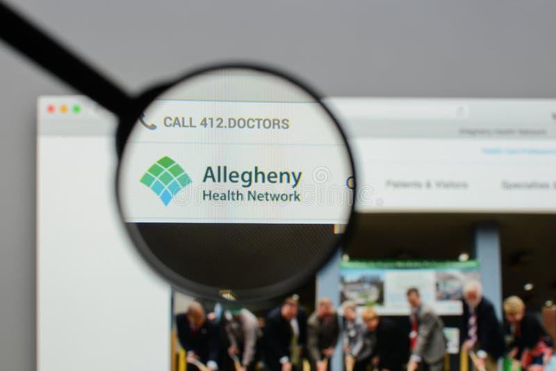 Mailand, Italien - 10. August 2017: Allegheny-Gesundheits-Netzwebsite lizenzfreie stockbilder