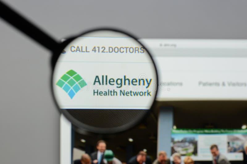Mailand, Italien - 10. August 2017: Allegheny-Gesundheits-Netzwebsite stockfotos
