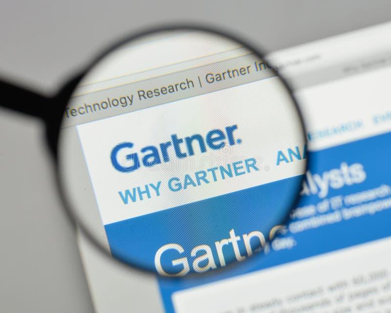 Mailand, Italien - 10. August 2017: Gartner-Logo auf dem Websitehaus lizenzfreies stockbild