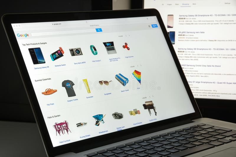 Mailand, Italien - 10. August 2017: Google COM-Einkaufswebsitehaus lizenzfreies stockbild