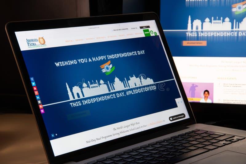 Mailand, Italien - 15. August 2018: Grundlage Akshaya Patra Netz nichtstaatlicher Organisation stockfoto