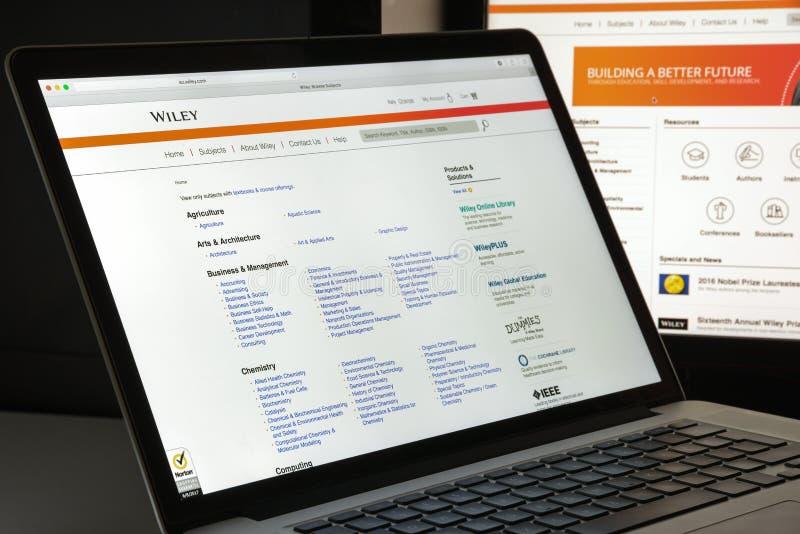 Mailand, Italien - 10. August 2017: Wiley COM-Websitehomepage Es I lizenzfreie stockfotos