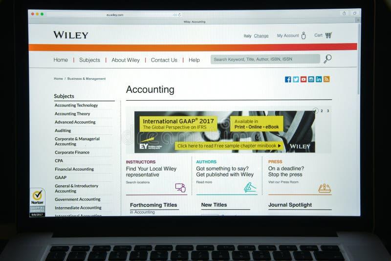 Mailand, Italien - 10. August 2017: Wiley COM-Websitehomepage Es I lizenzfreie stockbilder