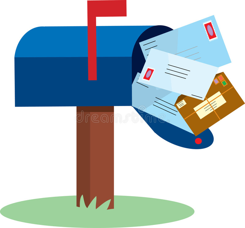 Mailbox. Full of mail with red flap up vector illustration