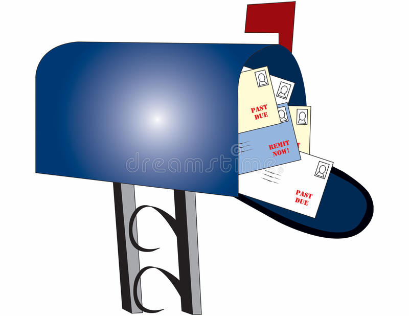Mailbox with bills royalty free illustration
