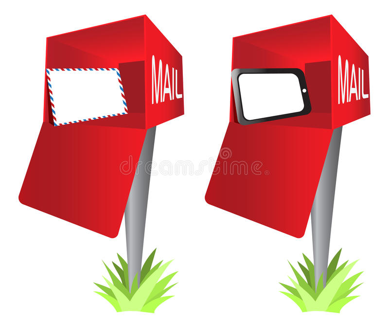 Mailbox with a Envelope and Tablet PC Pad Clip Art. A concept of sending and receiving messages through a tablet PC and the traditional envelope clip art vector illustration