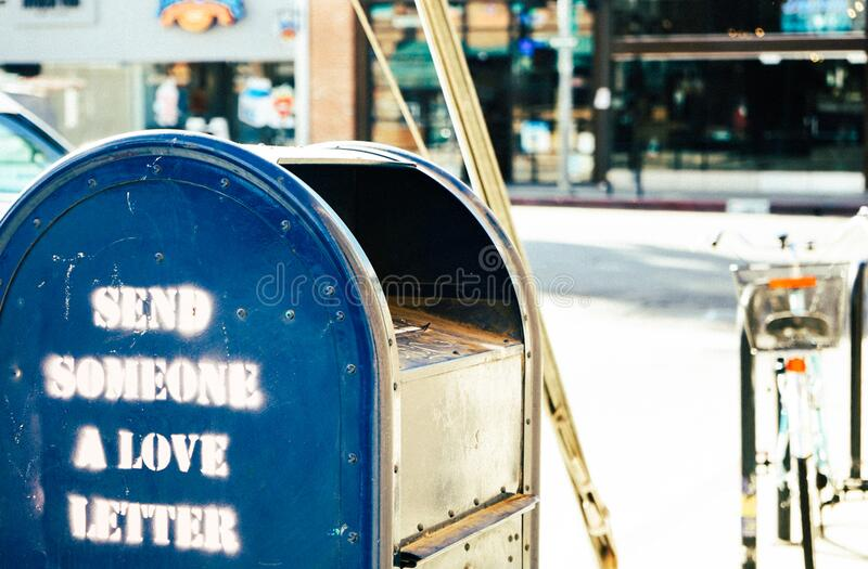 Mailbox with graphics stock images