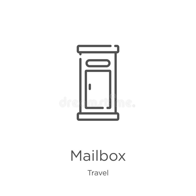 Mailbox icon vector from travel collection. Thin line mailbox outline icon vector illustration. Outline, thin line mailbox icon. Mailbox icon. Element of travel vector illustration