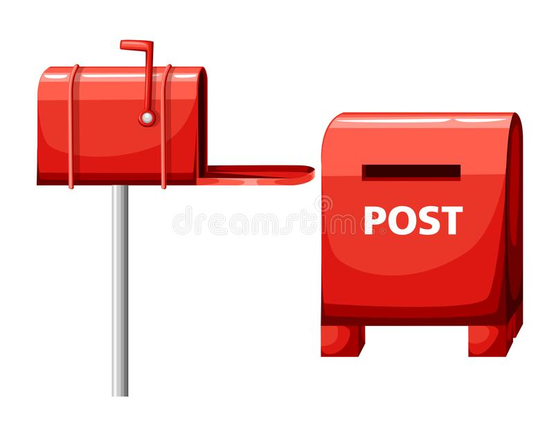 Mailbox illustration isolated on white, flat post office box, red mail box cartoon icon Web site page and mobile app design.  royalty free illustration