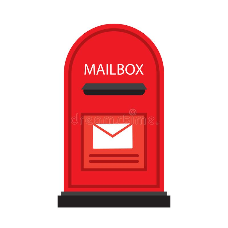 Mailbox isolated on white background. Red english post box in flat style. Vector stock royalty free illustration