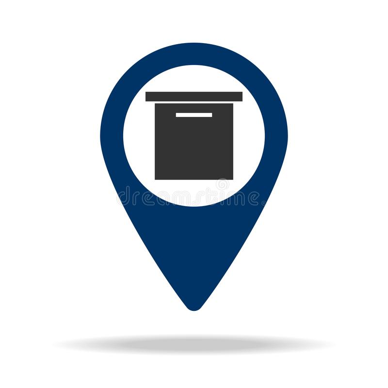 mailbox location in blue map pin icon. Element of map point for mobile concept and web apps. Icon for website design and developme vector illustration