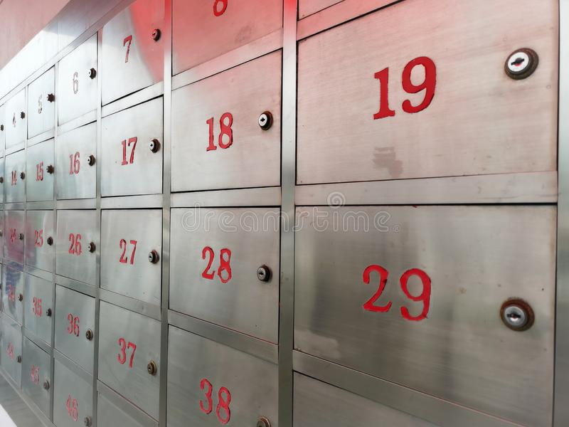 Mailbox Locker Made of Stainless Steel Sort by number in post office in Thailand royalty free stock photo
