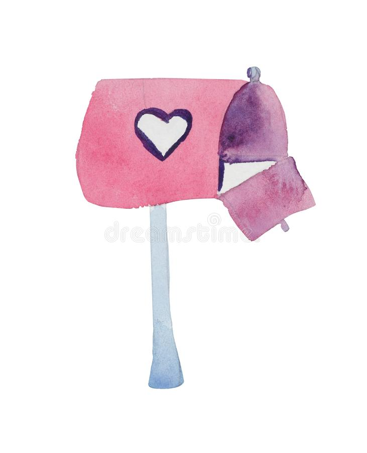 Watercolor St. Valentine`s Day `Mailbox` awaiting confessions. Mailbox made with watercolors. Will bring in your graphic compositions a sweet romantic accent royalty free illustration