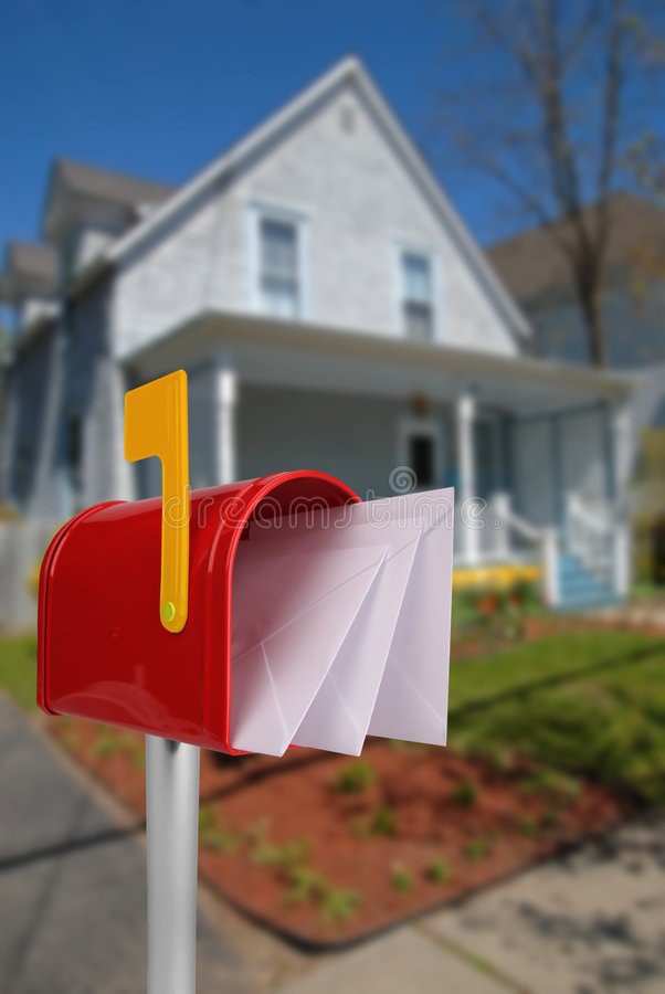 Mailbox with mail stock photography