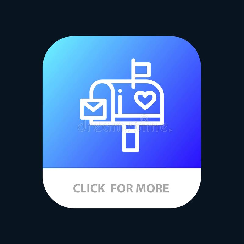 Mailbox, Mail, Love, Letter, Letterbox Mobile App Button. Android and IOS Line Version royalty free illustration