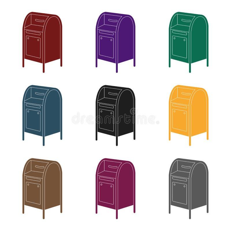 mailbox O único ícone do correio e do carteiro no estilo preto vector a Web conservada em estoque da ilustração do símbolo ilustração do vetor