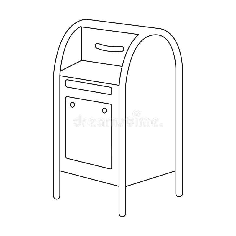 mailbox O único ícone do correio e do carteiro no esboço denomina a Web da ilustração do estoque do símbolo do vetor ilustração do vetor