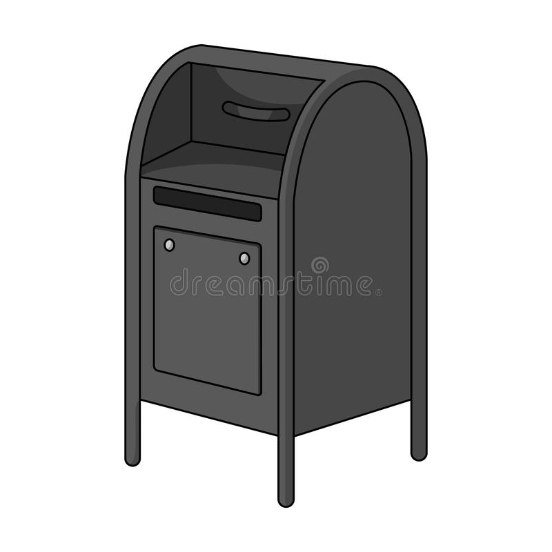 mailbox O único ícone do correio e do carteiro no estilo monocromático vector a Web conservada em estoque da ilustração do símbol ilustração stock