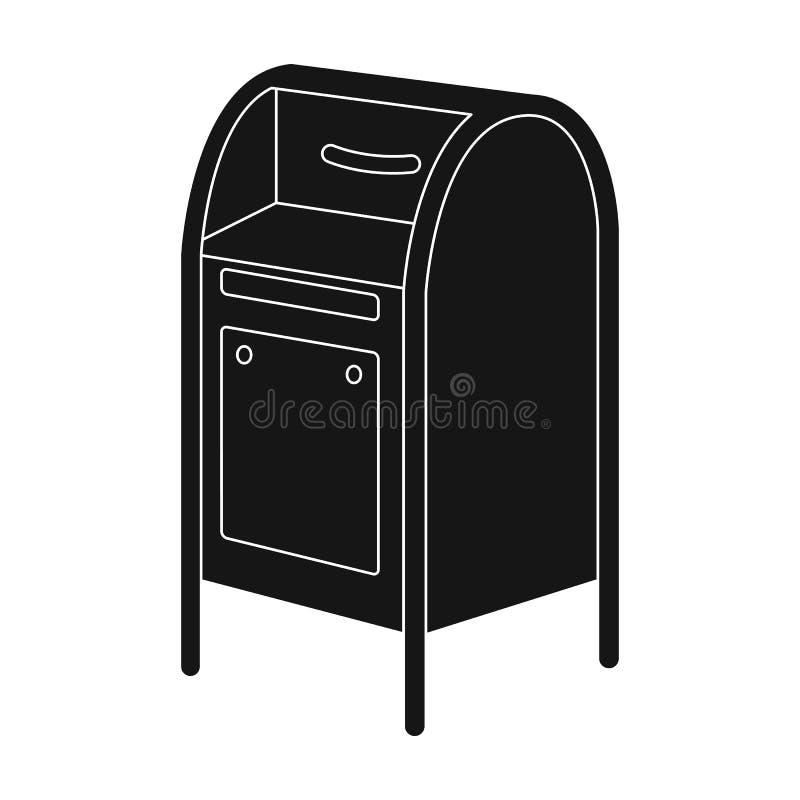 mailbox O único ícone do correio e do carteiro no estilo preto vector a Web conservada em estoque da ilustração do símbolo ilustração stock