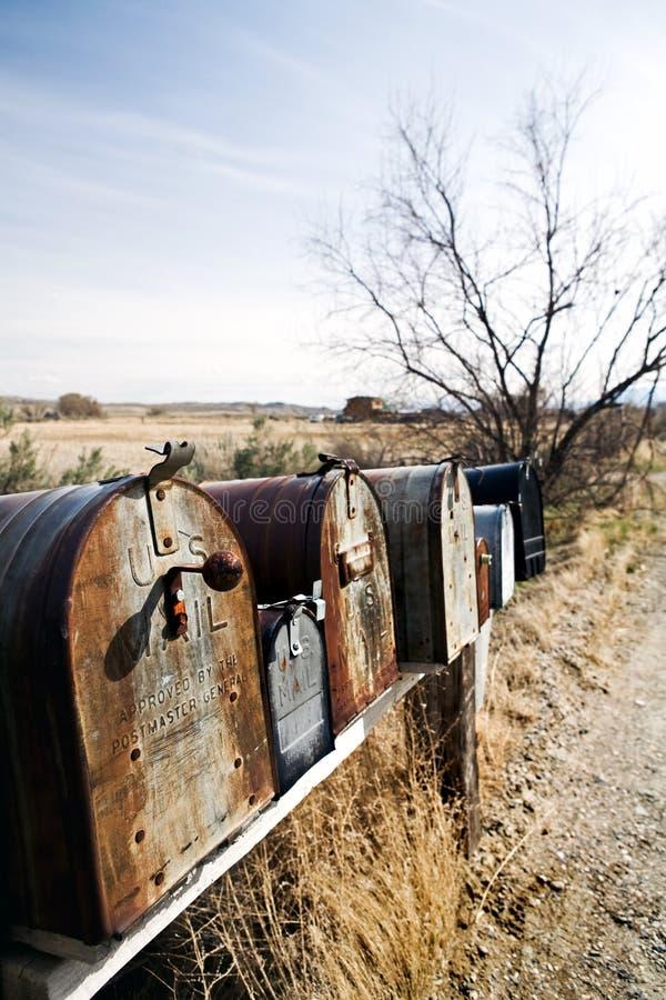 Mailboxes in Mittelwesten USA lizenzfreie stockbilder