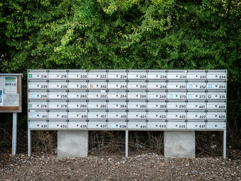 Mailboxes in rows royalty free stock images