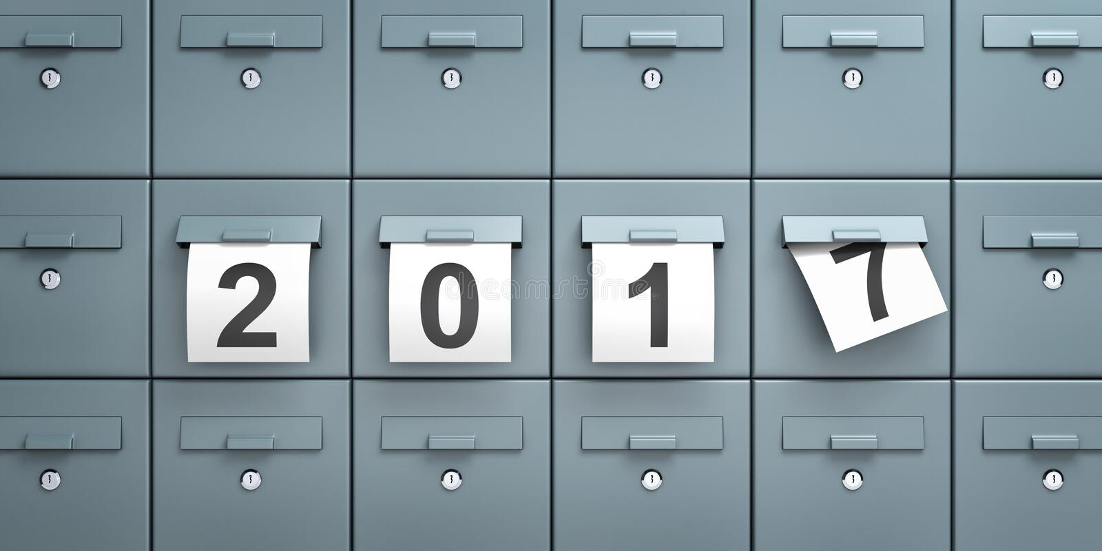 Mailboxes with sheets of paper with digits 2017 stock illustration