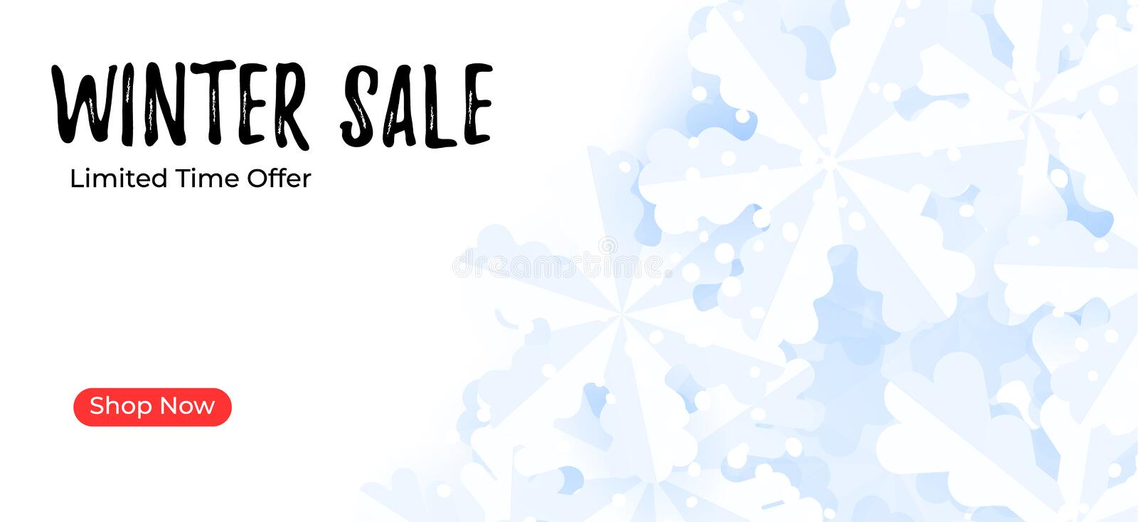 Mailing banner template. Winter sale background with snowflakes.  stock illustration