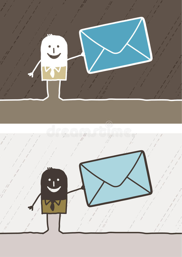 Mailing colored cartoon. Hand drawn characters royalty free illustration