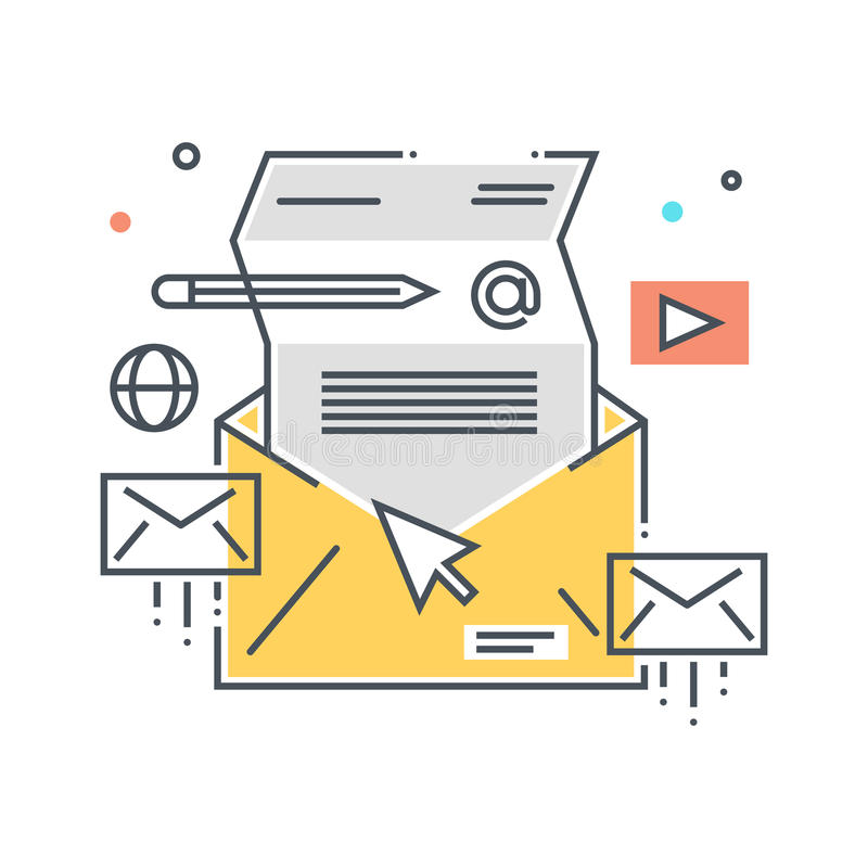 Mailing concept illustration. Icon, background and graphics. The illustration is colorful, flat, , pixel perfect, suitable for web and print. It is linear royalty free illustration