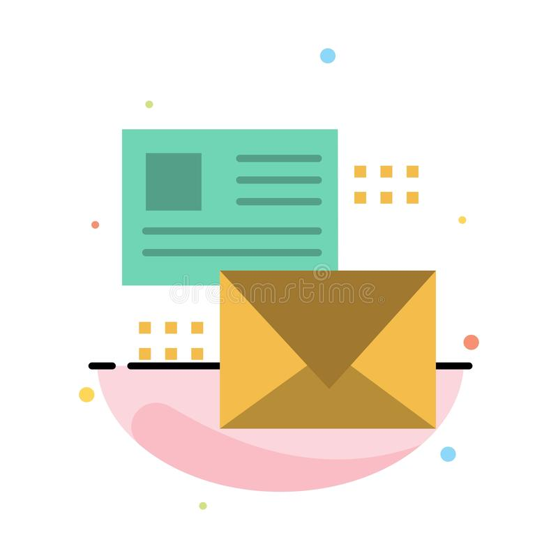 Mailing, Conversation, Emails, List, Mail Abstract Flat Color Icon Template vector illustration