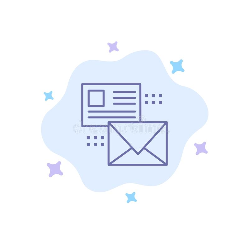Mailing, Conversation, Emails, List, Mail Blue Icon on Abstract Cloud Background royalty free illustration