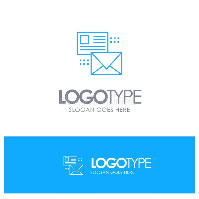 Mailing, Conversation, Emails, List, Mail Blue outLine Logo with place for tagline vector illustration