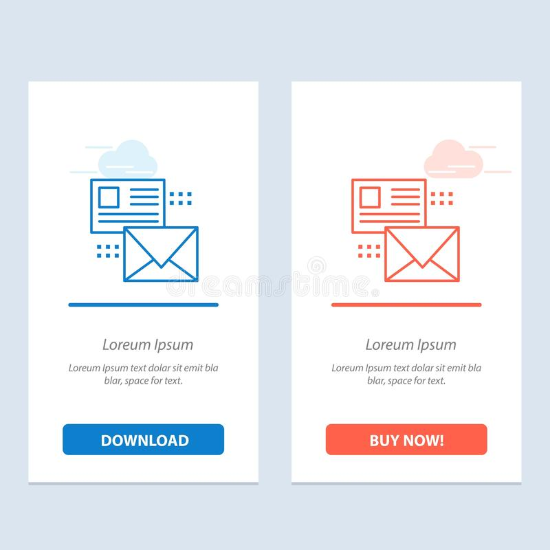 Mailing, Conversation, Emails, List, Mail  Blue and Red Download and Buy Now web Widget Card Template vector illustration