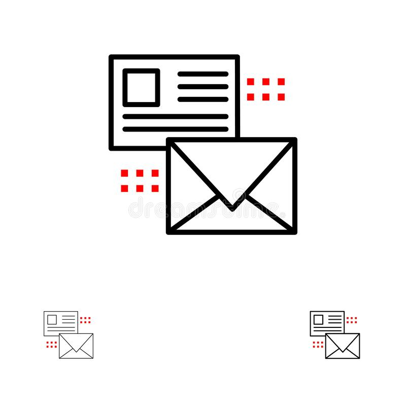 Mailing, Conversation, Emails, List, Mail Bold and thin black line icon set royalty free illustration