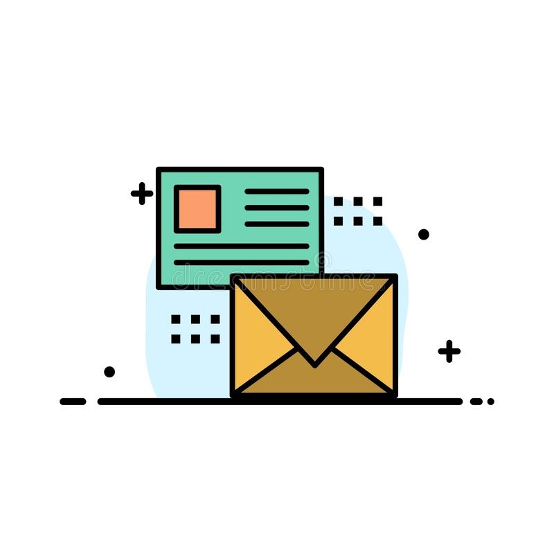 Mailing, Conversation, Emails, List, Mail  Business Flat Line Filled Icon Vector Banner Template stock illustration