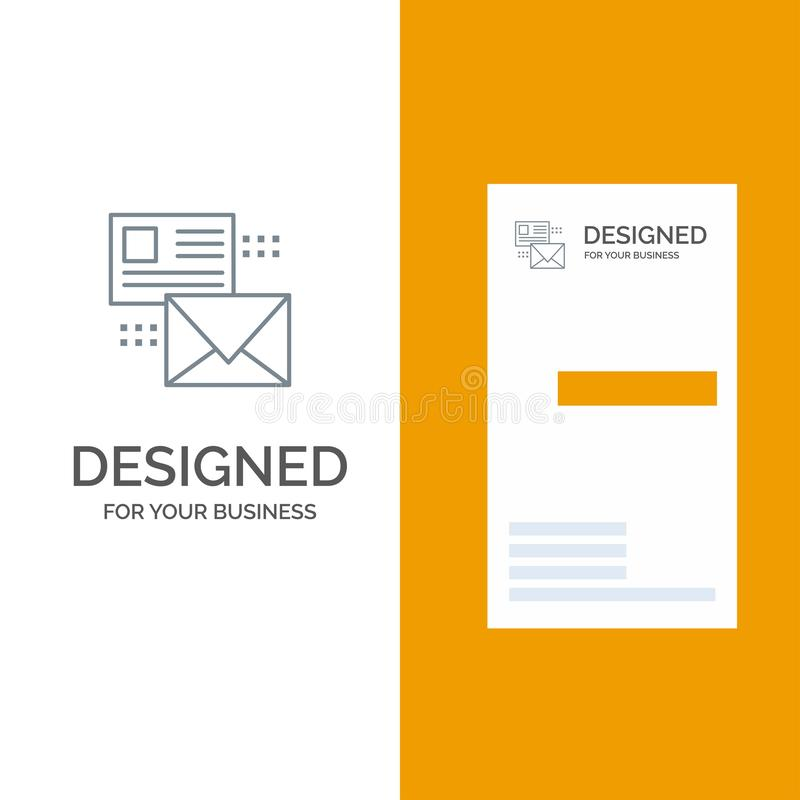 Mailing, Conversation, Emails, List, Mail Grey Logo Design and Business Card Template stock illustration