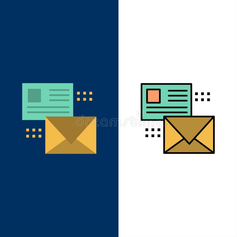 Mailing, Conversation, Emails, List, Mail  Icons. Flat and Line Filled Icon Set Vector Blue Background royalty free illustration